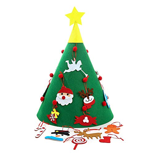 WIOR Felt Christmas Tree DIY Christmas Decorations Tree with 18Pcs Detachable Snowman Candy Christmas Ornaments, Kids Xmas Gifts, Indoor Outdoor Christmas Decoration Kit