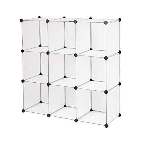 Edaygo Scaffale Componibile a Incastro Guardaroba Armadio Modulare in Plastica 110 x 110 x 37 cm, Trasparente, 9 Cubi