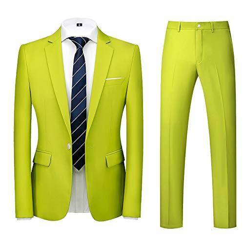 Xmiral Abito Uomo Elegante Completo Slim Fit 2 Pezzi Blazer Uomini Pantaloni + Giacca (4XL,2verde)