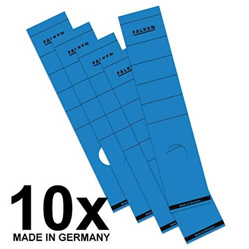 Original Falken 10er Pack Ordner-Rückenschild. Made in Germany. Etiketten 60 x 290 mm selbstklebend für 8 cm breite Ordner blau