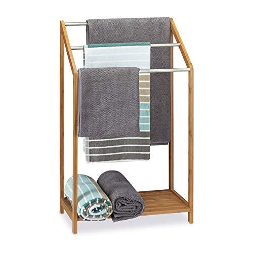 Relaxdays Handtuchhalter Bambus, 3 Handtuchstangen, Freistehend, Ablage, modern, HxBxT: 85 x 51 x 31 cm, natur