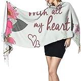 Con tutto il mio cuore elegante biglietto di fiori in chiaro 1693 donne sciarpa alla moda sciarpa calda sciarpa Wrap sciarpa Cape regalo di Natale per mamma fidanzata sorella