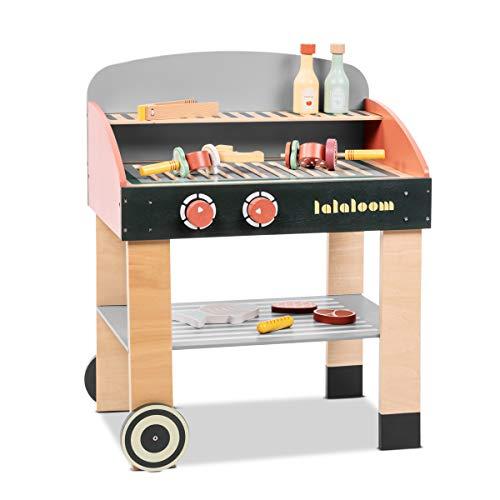 Lalaloom BABYCUE - Cocina de juguete madera rojo para niños cocina infantil juego de imitación cocinita barbacoa con accesorios de madera 47x31x58cm