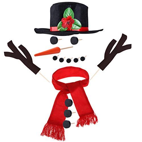 STOBOK 15 Piezas Construir un Kit de muñeco de Nieve Haciendo Accesorios de construcción Kit de decoración de Vacaciones al Aire Libre para niños Familia