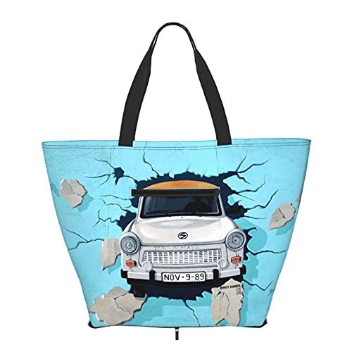 Bolsos de mano grande bolsa de mano coche golpeó la pared gran capacidad bolsos moda gimnasio deportes playa hombro bolsa