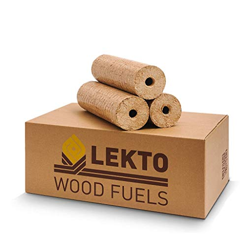 Lekto Woodfuels Hardwood Heat Logs | Eco Firewood Compressed Wood Fire Logs for Wood Burners Log Stoves Ovens Fire Pits or Fireplace | Low Moisture High Heat Easy to Light | Natural Product