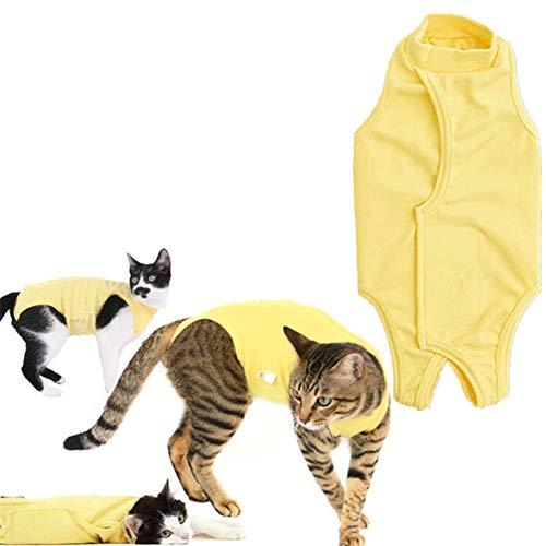 HEELPPO Chirurgischer EntwöHnungsanzug Rehabilitationskleidung FüR Hunde Katzen Tragen Nach Der Operation Schutzkleidung Hundekleidung KostüM Katze HundekostüM KostüM FüR Hunde Yellow,l