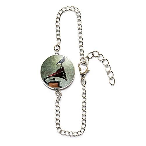 PU264 - Pulsera de vinilo con diseño de gramófono y pájaro, regalo de moda para mujer