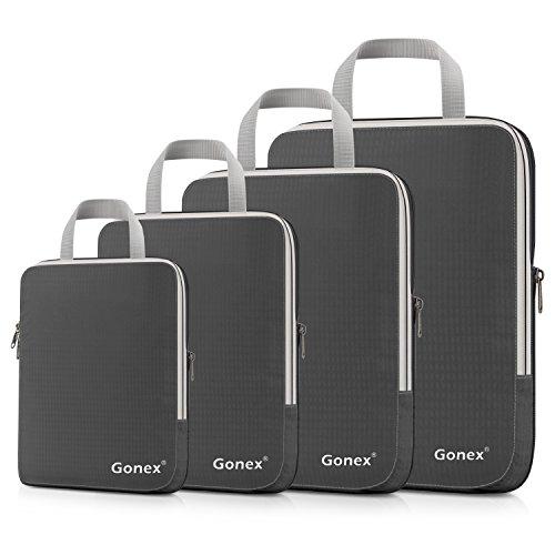 Compression Packing Cubes 3/4er Set, Gonex Kleidertaschen 4-teilig Verpackungswürfel, Kleidertaschen Set, Kofferorganizer Reise Würfel, Grau(4er)