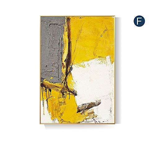 Peinture À L'Huile Sur Toile,Jaune Art Belle Personnalité,100% Peint À La Main Peinture À L'Huile Sur Toile Texture Palette Couteau Peintures Moderne Home Decor Wall Art Peinture Colorée,24X