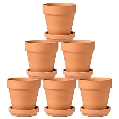 Briful Blumentöpfe, Terrakotta, klein, 13 x 13 cm, Ton, Keramik, Übertopf mit Untersetzer und Ablaufloch, für Kaktus, Sukkulenten, ideal für Pflanzen, Handwerk, Hochzeitsgeschenke, 6 Stück