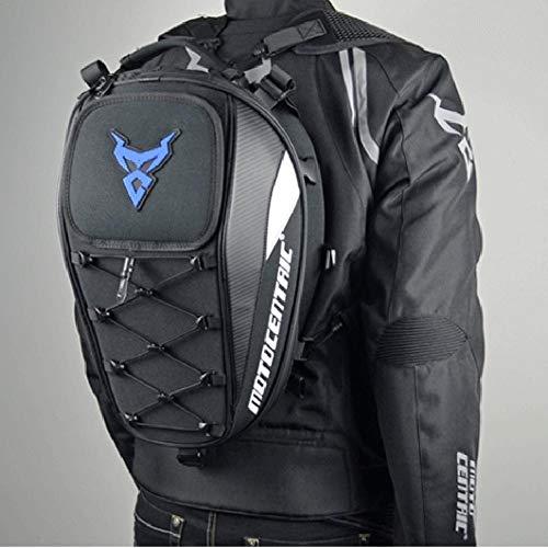 hinffinity Maleta de Motocicleta de Fibra de Carbono Resistente al Agua de Gran Capacidad, Mochila para Motociclista 11-MC-0102, Color Negro