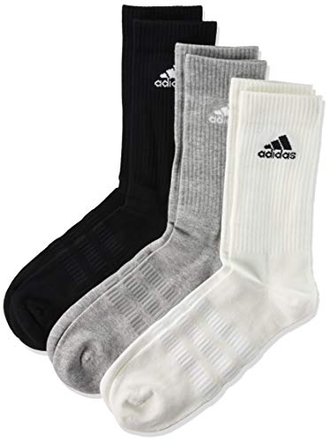 adidas Cushioned Crew Calcetines, Multicolor (Negro/Gris/Blanco), L (Pack de 3) Unisex adulto