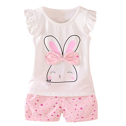 Allence Babykleidung Kinder Kleinkind Mädchen Sommer Baby Bekleidungssets Süß Kaninchen Muster T-Shirt Kleidung Top + Hosen Set Outfits Kleidung Set Stirnband Trainingsanzug Kleidung