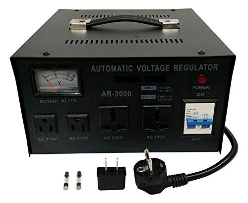 Regulador de corriente Estabilizador de tensión entrada y salida de corriente universal hasta 3000 Vatios apto para equipos Europeos y Americanos