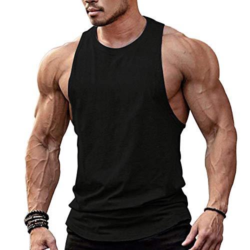 "TX Apparel Herren Tanktop Fitness Stringer Low Cut Off à""rmellos Weste Bodybuilding T-Shirt Muskelshirt -BK, Schwarz, S"
