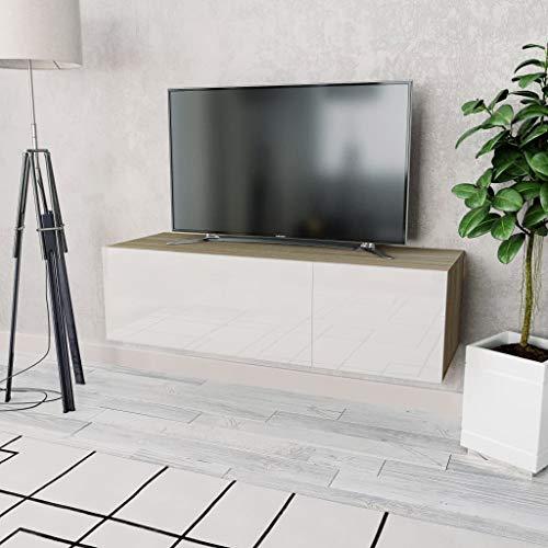 vidaXL Mueble TV Blanco Brillante y Roble Mobiliario Estación Multimedia Salón