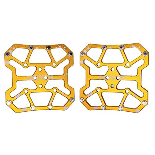 HUOGUOYIN Bicycle Pedal 2pcs Bicycle Pedal Aluminum Alloy Flat Platform Adapter Conversion Fit for Compatible MTB Road Bike Parts Accessories (Color : Gold)