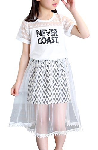 Girls Casual 2Pcs Short Sets Letter Tops T-shirt Stripte Lace Skirt Two Pieces Set Clothes Children Skirt Suits Summer Clothing for Kids Girl Tee Size 7-16 Pattern Tee O Neck Summer Dress (White, 160)