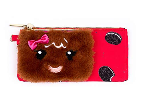 Tri-Coastal Design - Pencil Case & Change Portemonnee Set – Rood Nylon All-Purpose Portemonnee en Kleine Bruin Pluche Gingerbread Draagtas