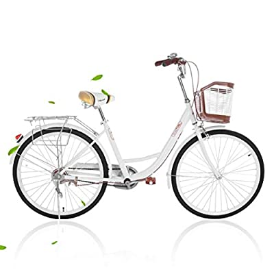 2021 New Comfort Bikes Beach Cruiser Bike for Women Anti-Skid Wear-Resistant Tires with Rear Seat (White)