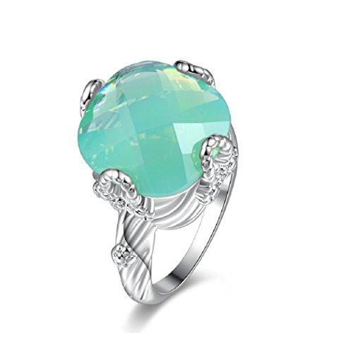 Uloveido Mujer Enorme Cuadrado Verde Cubic Zirconia Stone Asscher Cut Ring, Anillo de Compromiso de Boda para Mujeres Y348 (Tamaño 17)