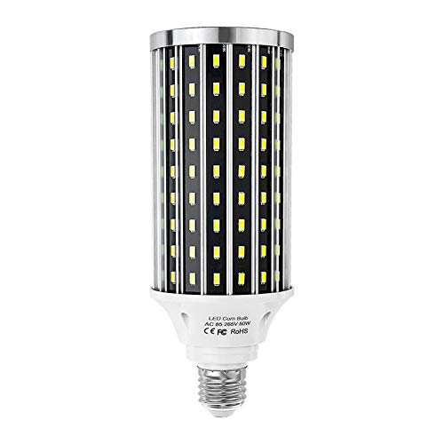CHUI LED Maisbirne E27 E26 E39 50W Aluminiumschale Energiesparlampen Birne,Halogenlampe Glühlampe Ersetzen,Nicht Dimmbar Lampe,5730 SMD LED Leuchtmittel 5000LM Warmweiß Kaltweiß AC 85-265V,E27 6500K