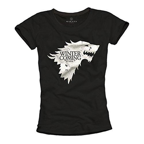 MAKAYA Camiseta Negra Mujer - Winter IS Coming Stark - Juego de Tronos L