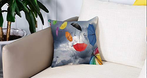 Luoquan Kissenbezüge Super Weich Home Dekoration,Apartment Decor, Sonnenschirme im Vordergrund von dunklen Cumulus-Regenwolken,Kopfkissenbezug Pillowcase Kissen für Wohnzimmer Sofa Bed,45x45cm