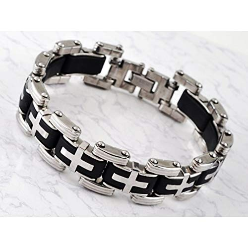 WDAIJY Herren Armband,Männer Silber Edelstahl Kette Armbänder & Armreifen Herren Armreif Armband Biker Motorrad Schwarz Silikon Armband