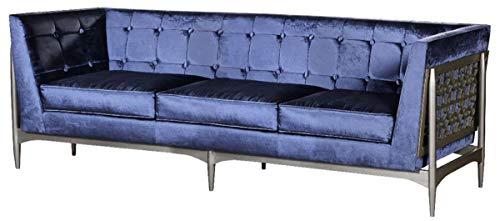 Casa Padrino sofá Art Deco de Lujo de 3 plazas Azul/Gris 250 x 76 x A. 83 cm - Sofá de Terciopelo Noble con Estructura de Caoba - Muebles de Salón Art Deco
