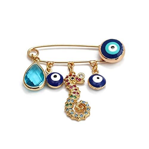 Broche de ojo de la suerte azul turco del mal de ojo de la suerte, color dorado, cobre de Fátima mano corazón perla broche para mujeres niñas joyería