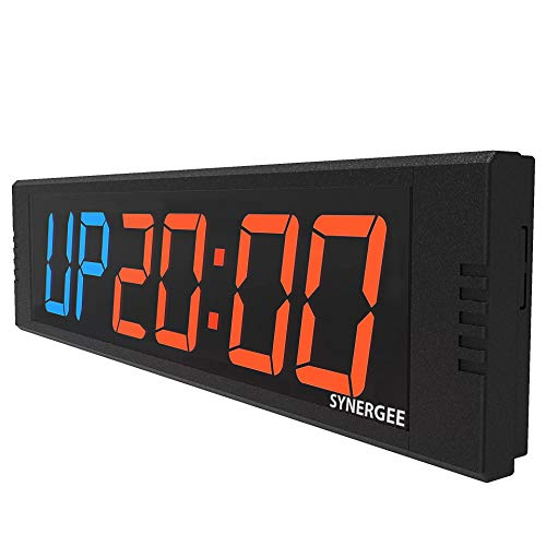 """Synergee 8.5"""" Premium LED Programmable Crossfit Interval Wall Timer Gym Timer with Wireless Remote. Tabata, EMOTM, Stopwatch, Count Up/Down, MMA, Clock."""