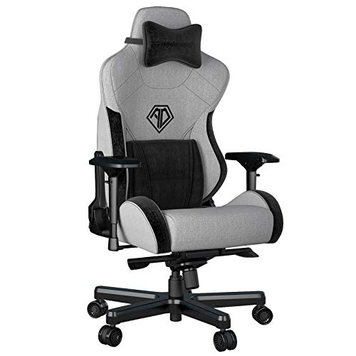 Fabric Gaming Chair,Anda Seat T PRO 2 Ergonomic Office Game Chairs,XL Swivel Recliner Chair with 4D Adjustable PU Armrest,160°Recliner Rocker Video Chair with Pillow Headrest Lumbar for Home(Grey