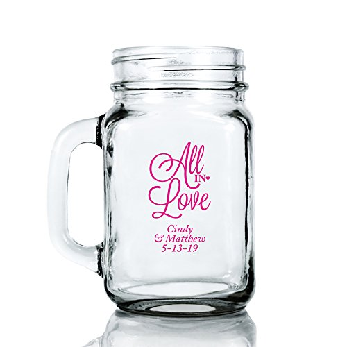 Personalized Color Printed 16-ounce Mason Mug - All In Love - Fuchsia - 144 pack
