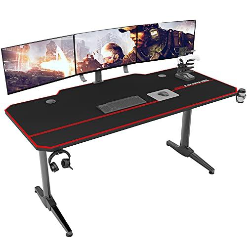DlandHome Bureau Gaming 140 cm Bureau Gamer avec Tapis de Souris Intégré & Porte Manette/Chargeur à USB, Table...