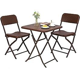 Salon de Jardin en Rotin, Ensemble de Jardin Exterieur 1 Table (60 * 60 * 72,5 cm) et 2 Chaises (43 * 40 * 86cm), Set de…