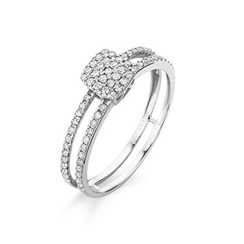 Orovi Schmuck Damen Ring Weißgold 0.27 Ct Diamant doppelreihiger Verlobungsring 14 Karat (585) Gold und Diamanten Brillanten