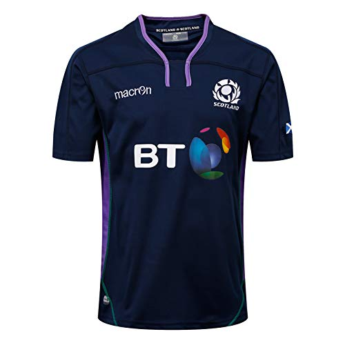 MGRH 2018-19 Escocia Inicio Rugby Jersey, Partidario Camiseta de fútbol Deporte Top, Juego de Roles clásico, cumpleaños Royal Blue.a-XL
