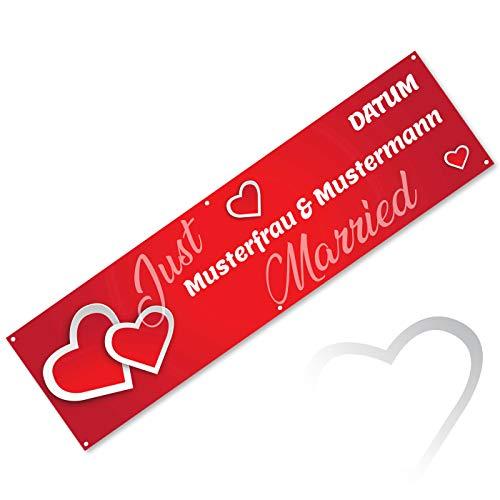 Rotes Hochzeitsbanner Herzen JUST MARRIED mit Namen des Brautpaares und Datum 200 cm x 55 cm