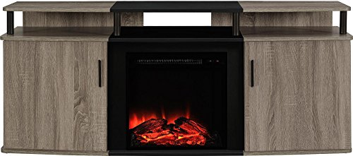 "Ameriwood Home Carson Electric Fireplace TV Console for TVs up to 70"", Weathered Oak"