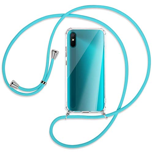 mtb more energy Collar Smartphone para Xiaomi Redmi 9A (6.53'') - Turquesa - Funda Protectora ponible - Carcasa Anti Shock con Correa para Hombro