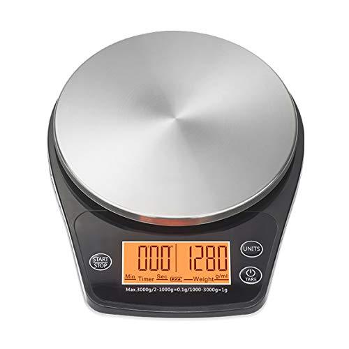 FREELX Báscula de Cocina Electrónica con Temporizador, Función de Pelado Báscula de Precisión Multifuncional para Café, Superficie de Acero Inoxidable Impermeable 3 kg / 1 g