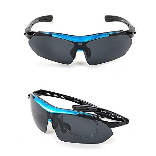 Sport Sonnenbrille Fahrradbrille Sportbrille mit UV400 5 Wechselgläser inkl Schwarze polarisierte Linse für Outdooraktivitäten wie Radfahren Laufen Klettern Autofahren Laufen Angeln Golf Unisex - 4