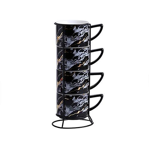 XJAXY Conjunto De Taza De Espresso De Porcelana, Tazas De Demitasse Apilables con Soporte De Metal, para Latte, Café, Café Moca, Té, Mango Grande Taza
