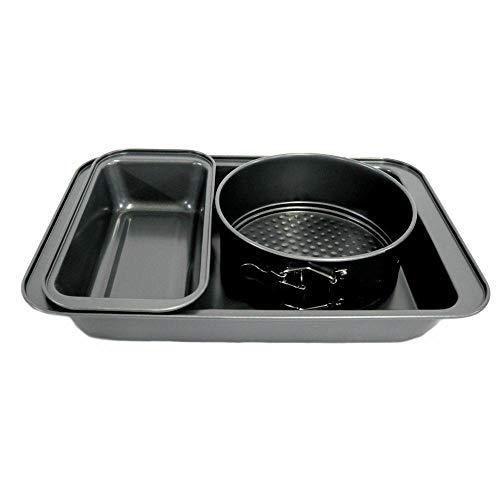 3-Piece Non-Stick Bakeware Set – Roasting Pan, Loaf Pan, Round Spring Form Pan cake baking pans Sheet pans Baking dish Baking provides Baking sheets for oven Cookware set Baking air pans