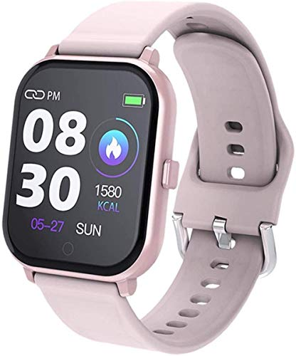 JIAJBG Reloj inteligente, pantalla de 1.3 pulgadas, rastreador de fitness, podómetro, pulsera de mensaje, recordatorio inteligente, IP67, resistente al agua, color negro y rosa
