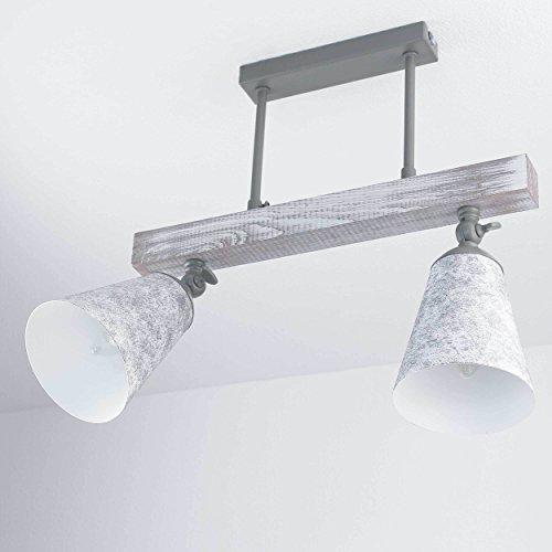 Landhausstil Deckenleuchte Taupe Shabby Weiß schwenkbar Echtholz Metall Deckenlampe Wohnzimmer Küche