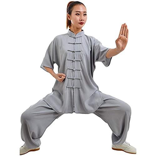 G-like Damen Herren Tai Chi Trainingsanzug – Traditionelle Chinesische Kampfkunst Taiji Kung Fu Qi Gong Wing Chun Shaolin Wushu Frühling Sommer Training Unisex Uniform Kurzärmelig Anzug (Grau, S)