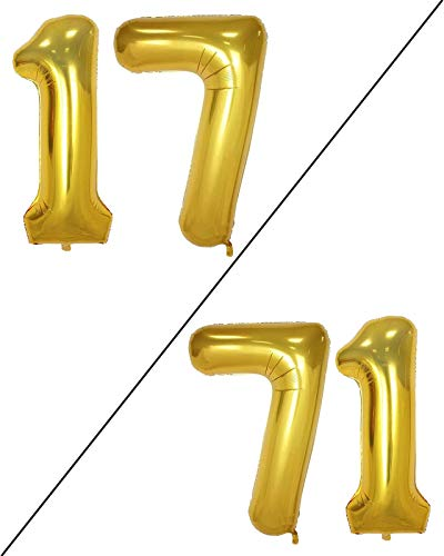 AULE 40 Inch Large 17 Number Balloons Gold, Big Foil Number Balloons, Giant Helium Happy 17th Birthday Party Decorations for Boy and Girl, Huge Mylar Anniversary Party Supplies